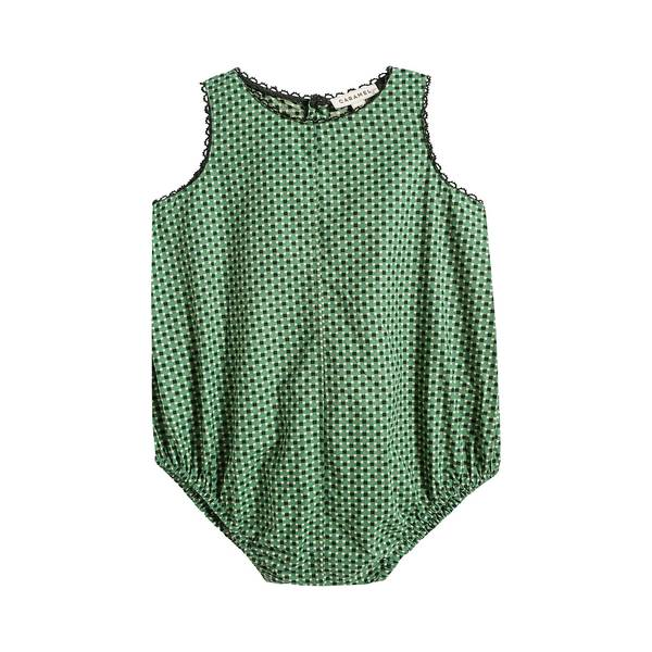 Baby Girls Green Dots Cotton Babysuit