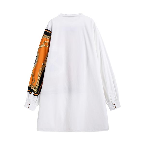 Girls White Painted Cotton Dress