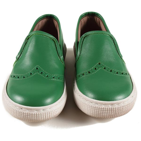 Boys & Girls Green Leather Shoes