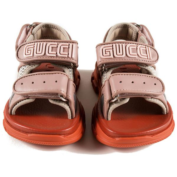 Baby Girls Pink Logo Leather Sandals