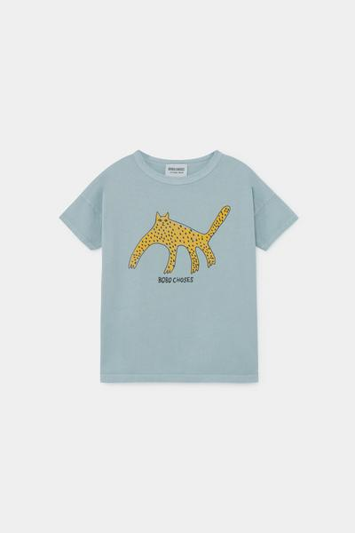Boys Blue Leopard Cotton T-shirt