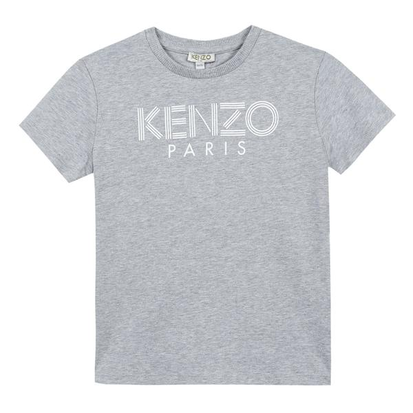 Boys Marl Grey Logo Cotton T-shirt