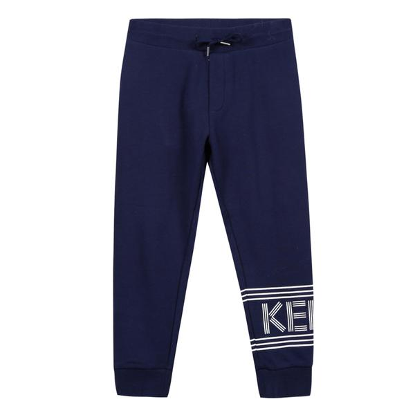 Boys Navy Logo Cotton Trousers