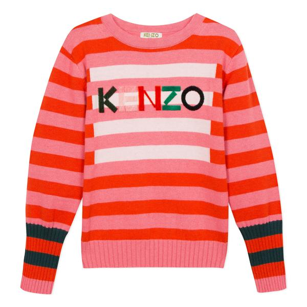 Girls Bright Pink Striped Cotton Sweater