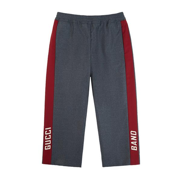 Boys Grey Logo Wool Trousers