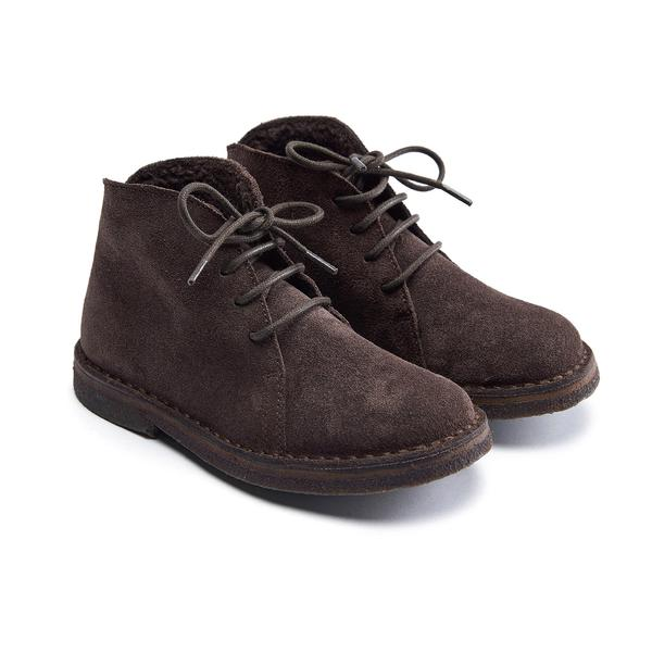 Boys & Girls Dark Brown Leather Shoes