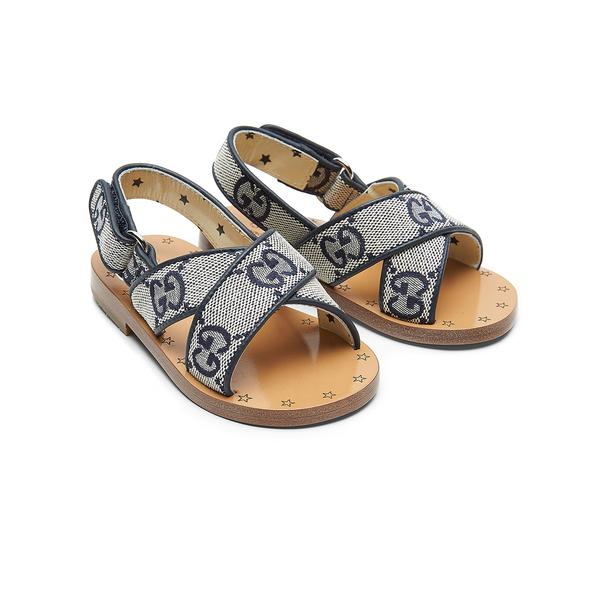 Baby Girls Blue GG Leather Sandals