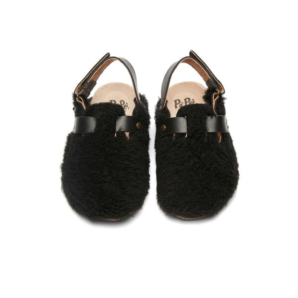 Boys & Girls Black Slippers With Ankle Strap