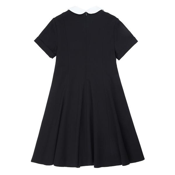 Girls Black & White Collar Dress