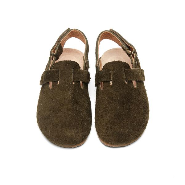 Boys & Girls Dark Brown Slippers With Ankle Strap