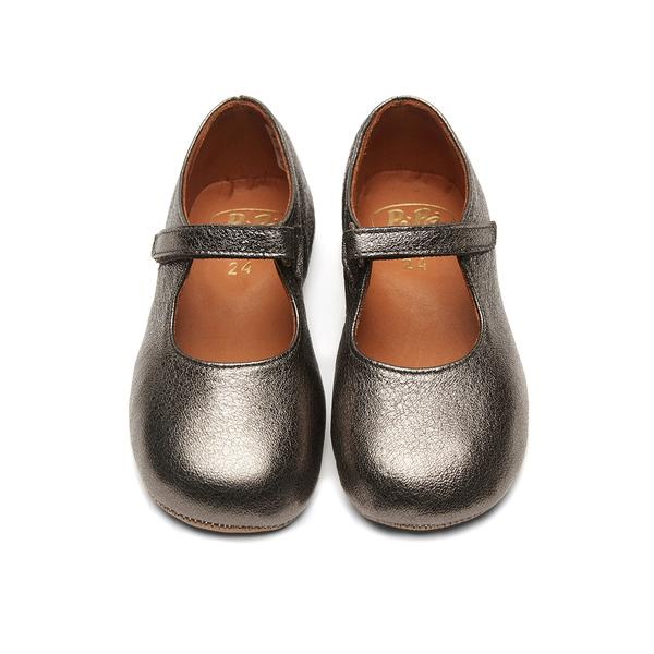 Girls Charcoal Leather Shoes