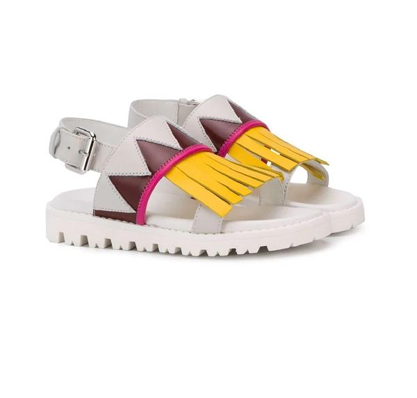 Girls White & Yellow Leather Sandals