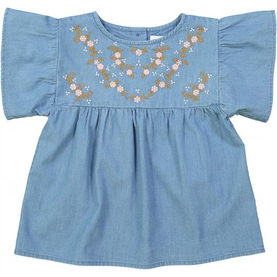 Girls Blue Embroidered Cotton Blouse