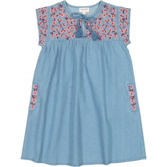 Girls Blue Embroidered Cotton Dress