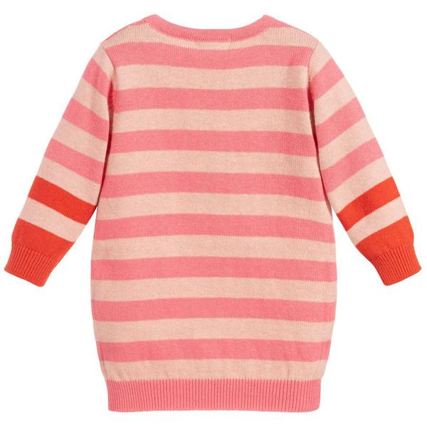 Baby Girls Pink Striped Knitted Dress