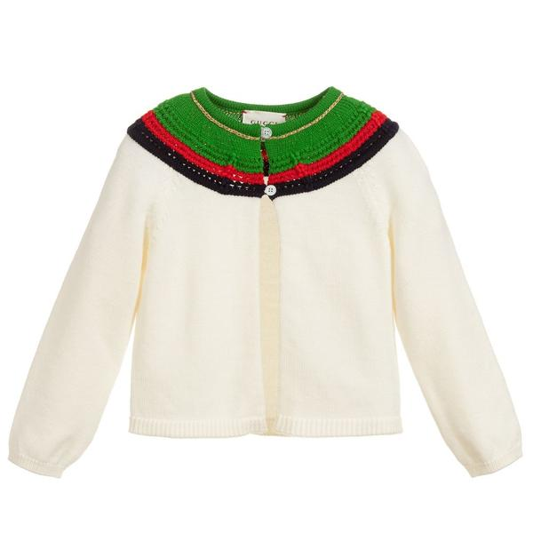 Baby Girls White Wool Cardigan