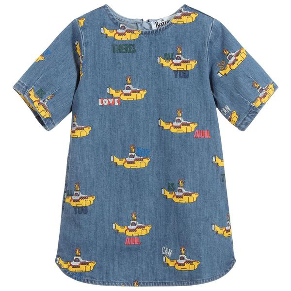 Girls Blue Printing Denim Dress