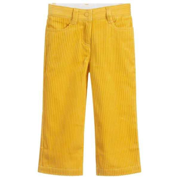 Girls Yellow Straight Cotton Trousers
