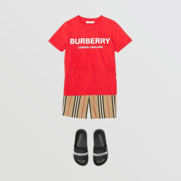 Girls Bright Red Logo Cotton T-shirt