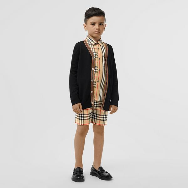 Boys Black Merino Wool Cardigan