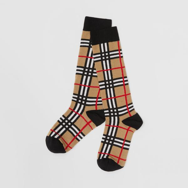 Boys & Girls Archive Beige Check Cotton Socks