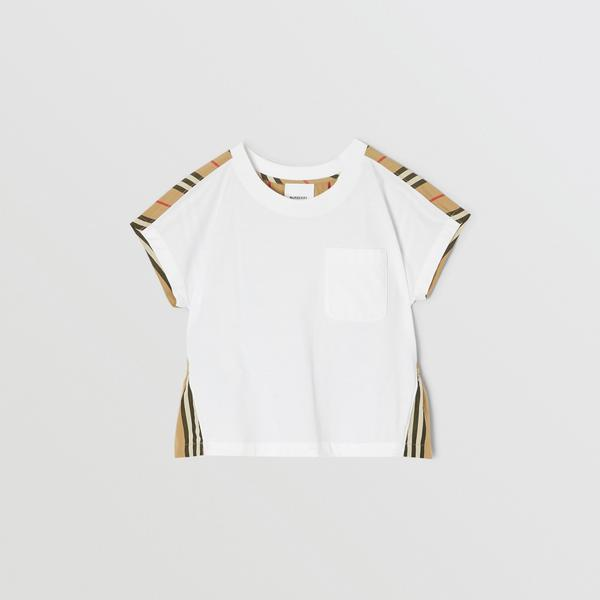 Girls White & Archive Beige Cotton T-shirt