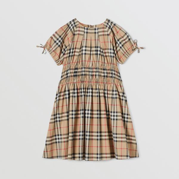 Girls Archive Beige Check Cotton Dress