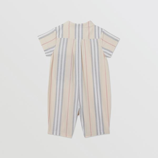 Baby Boys & Girls Beige Striped Cotton Babysuit