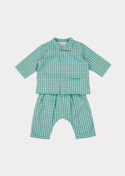 Baby Boys & Girls Green Check Cotton Set