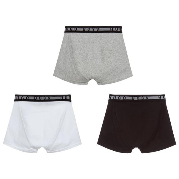 Boys Grey Cotton Underwear Set (3 Pack)