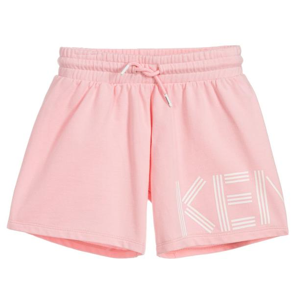 Girls Pink Logo Cotton Shorts