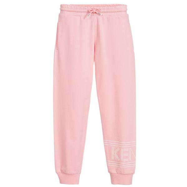 Girls Pink Logo Cotton Trousers