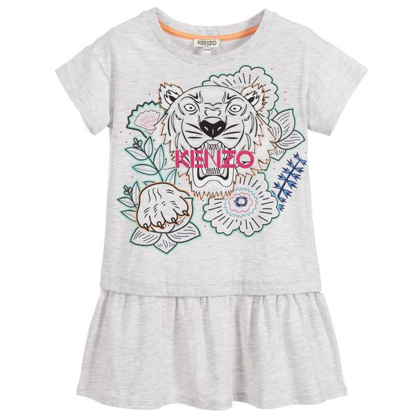 Girls Grey Tiger Dress