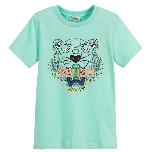 Boys Mint Green Tiger Cotton T-shirt