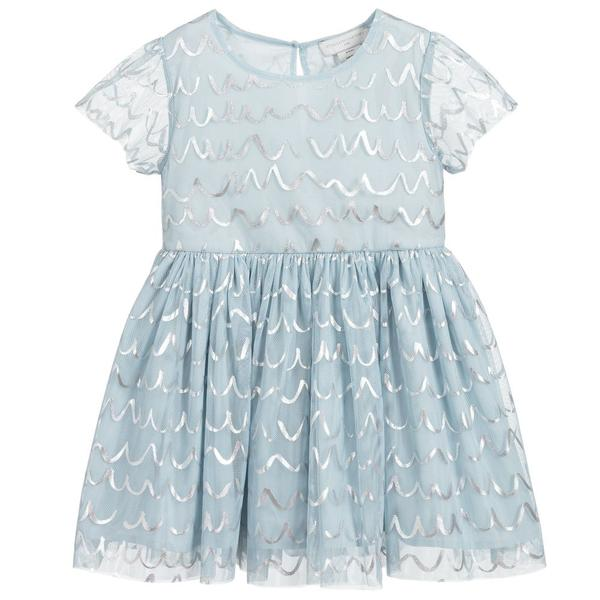 Girls Sea Blue Tulle Dress