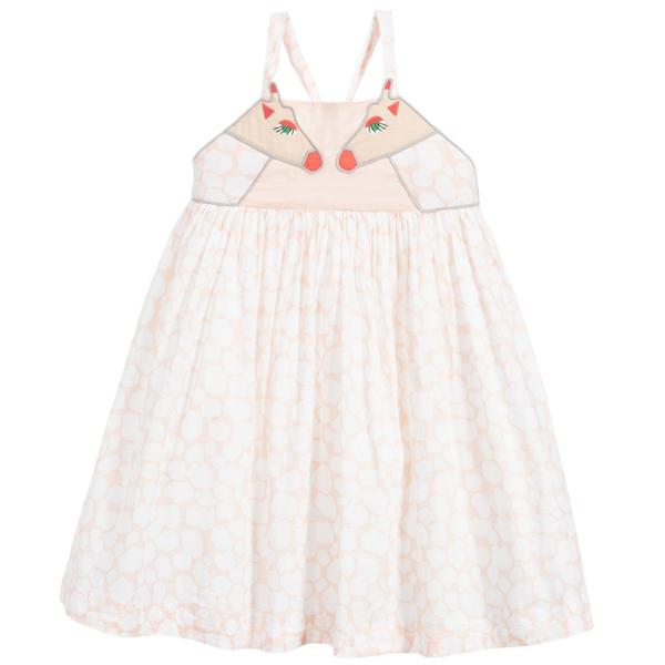 Girls Light Pink Giraffe Cotton Dress