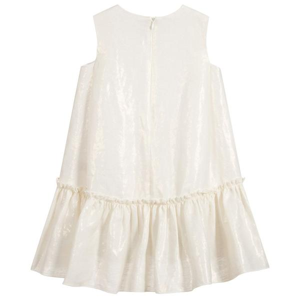 Girls Rice White Sleeveless Dress