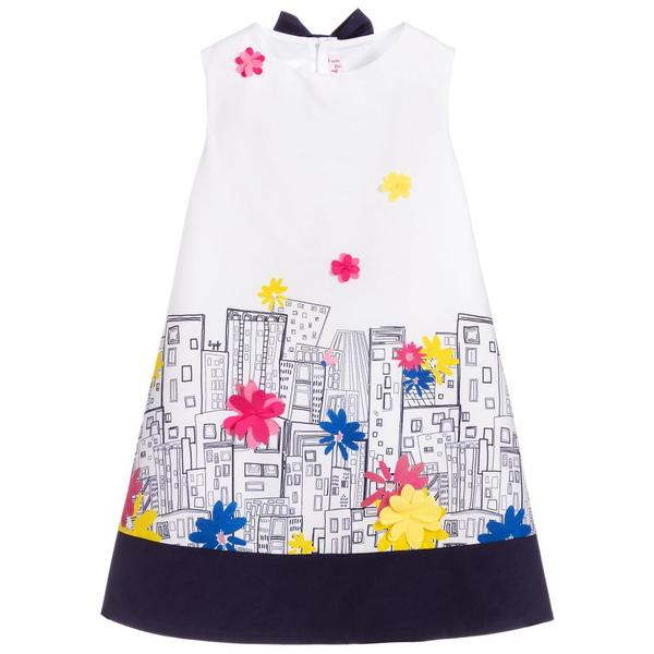 Girls White & Blue Cotton Dress
