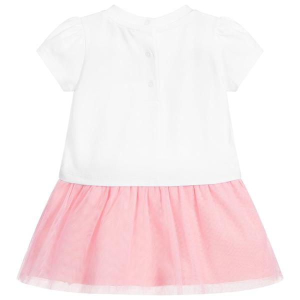 Baby Girls White & Pink Logo Cotton Dress