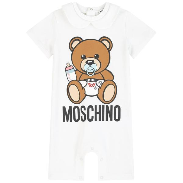 Baby Boys & Girls White Logo Cotton Babysuit