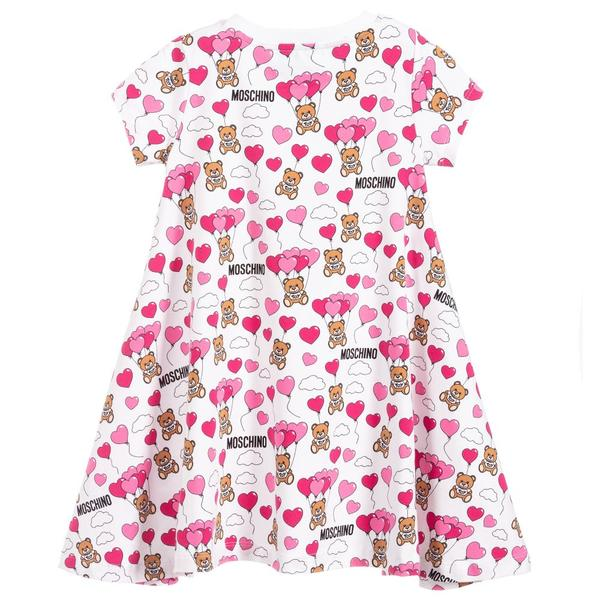 Girls White Balloon Cotton Dress