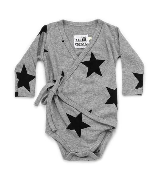 Baby Boys & Girls Grey Cotton Babysuit