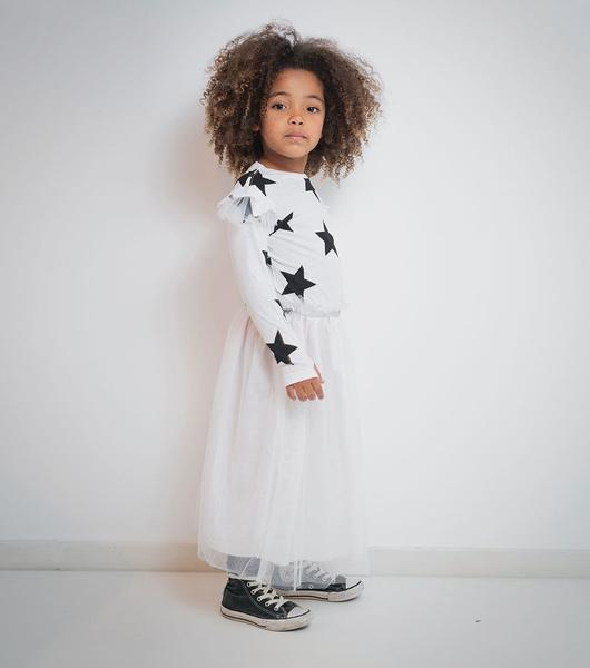 Girls White Star Tulle Dress