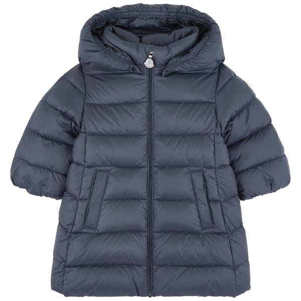 "Baby Girls Navy ""MAJEURE"" Padded Down Long Coat"