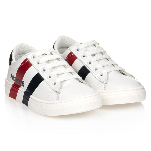 Boys & Girls White Low Top Leather Sneakers