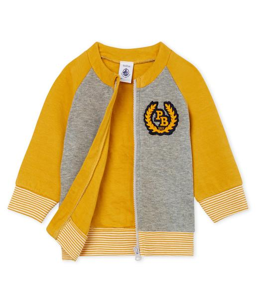 Baby Boys Grey & Yellow Cotton Cardigan