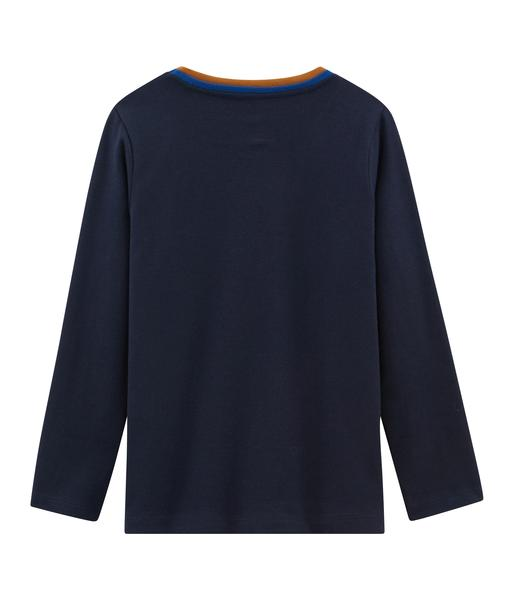 Boys Navy Logo Long Sleeves Cotton T-shirt