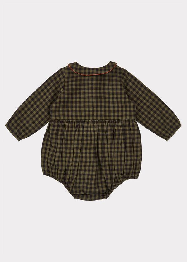 Baby Girls Dark Green Check Cotton Babysuit