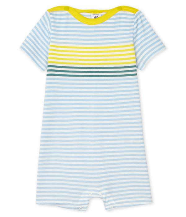 Baby Boys Blue Striped Cotton Babysuit