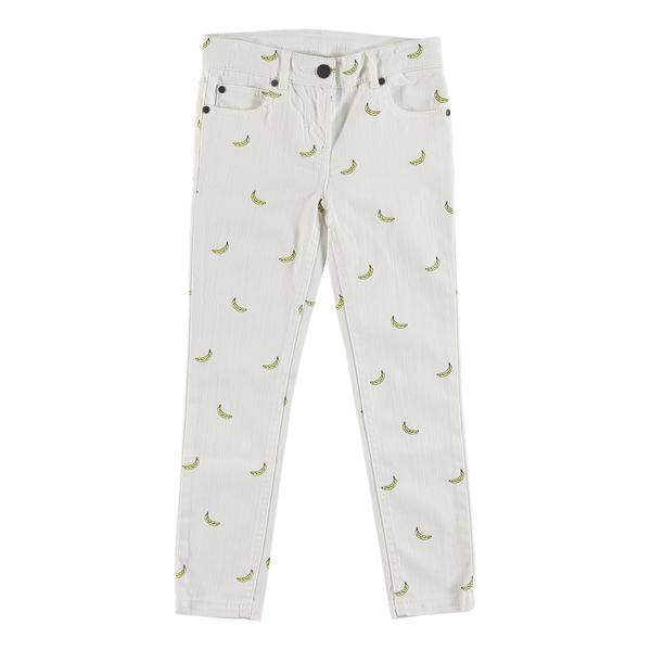 Girls White Embroidered Denim Trousers